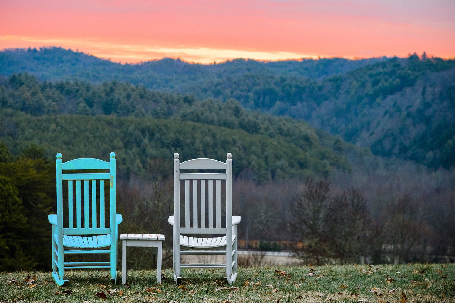 Chairs and Table Overlooking Great Smoky Mountain National Park at Sunset